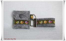 Schlüsselanhänger & Täschchen im Set / Vögel / Filz grau-meliert