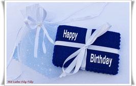 """Geldgeschenke Filz / Filzhülle """" Happy Birthday """" in Geschenksäckchen / blau - weiß"""