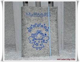 Mutterpasshülle aus Filz / Engel unterm Sternenhimmel