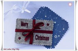 """Geldgeschenke Filz / Filzhülle """" Merry Christmas """" in Geschenksäckchen"""