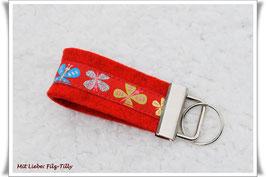 """Schlüsselanhänger aus Filz """" Schmetterlinge """" auf rot"""