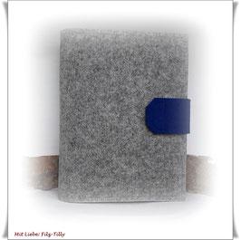 Organizer / Schreibmappe aus Filz / grau-meliert & azur *blau*