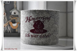 """WC Rollen Hülle """"Hamsterkauf - Ich war dabei!"""" bordeaux auf grau"""