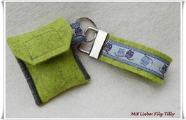 Schlüsselanhänger & Täschchen im Set / kiwi-grau Eulen