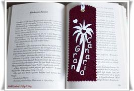 Lesezeichen aus Filz / Gran Canaria / weiß auf bordeaux