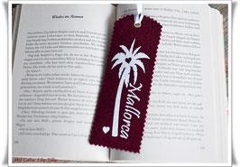 Lesezeichen aus Filz / Mallorca / weiß auf bordeaux