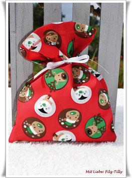 """Geschenksäckchen """" fröhliche Weihnachtsmotive"""" / EINZELSTÜCK"""