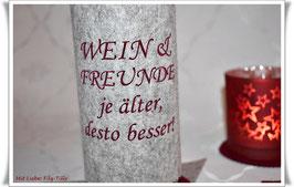 Weinmanschette aus Filz / WEIN & FREUNDE, je älter, desto besser