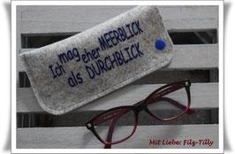 """Brillenetui """"Meerblick / Durchblick"""" aus Filz / blau auf grau-meliert"""