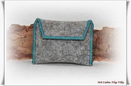 TAN - Lesegerät Tasche aus Filz / grau meliert - türkis