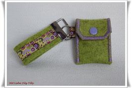 Schlüsselanhänger & Täschchen im Set / Blumen / Filz kiwi (grün)