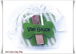 """Geldgeschenke Filz / Glücksklee """"Viel Glück"""" in Geschenksäckchen"""