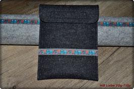 Edle E-Book-Tasche - ob für Kobo, Paperwhite, Tolino... Eule türkis auf anthrazit