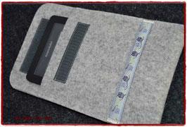 "Edle E-Book-Tasche - ob für Kobo, Paperwhite, Tolino... ""Eule grau auf grau-meliert"""