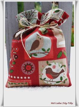 Geschenksäckchen aus Dekostoff / Let it Snow / EINZELSTÜCK