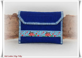 TAN - Lesegerät Tasche aus Filz / blau / Webband Mausi auf Glückspilz