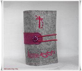 Gotteslobhülle aus Filz / grau-meliert & pink / personalisiert / individualisierbar