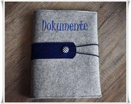 Dokumentenmappe aus Filz inkl. Displaybuch / grau-meliert mit dunkelblau