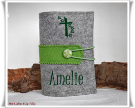 Gotteslobhülle aus Filz / grau-meliert mit hellgrün / personalisiert