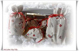 Geschenksäckchen aus Dekostoff / Rudi & Hearts / Größe wählbar