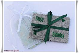 """Geldgeschenke Filz / Filzhülle """" Happy Birthday """" in Geschenksäckchen / grau-grün"""