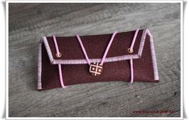 Tolles Etui aus Wollfilz für allerlei Frauenkram - braun/rosa