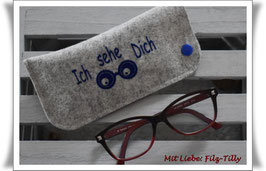 "Brillenetui "" Ich sehe Dich "" aus Filz / grau-meliert mit blau"