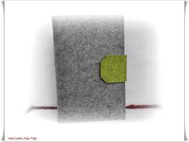 Organizer / Schreibmappe aus Filz / grau-meliert & kiwi *grün*