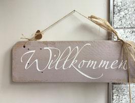 """Shabby chic Holzschild """"Willkommen"""""""