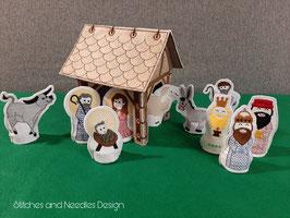 Handmade Weihnachtskrippe (beleuchtet) inkl. Krippenfiguren