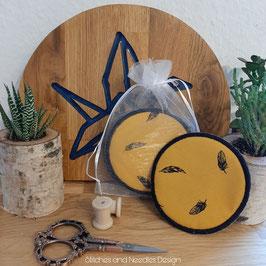 Waschbare Abschminkpads Federn (gelb)