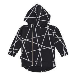Hoodie Zipped - Black Lines