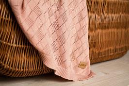 Openwork knit blanket peach