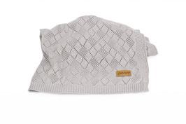 Openwork knit blanket grey