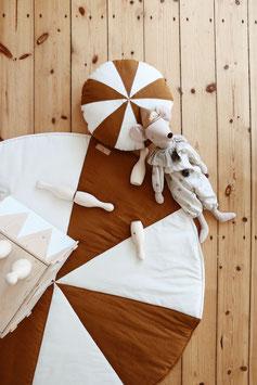 Linen round mat -caramel