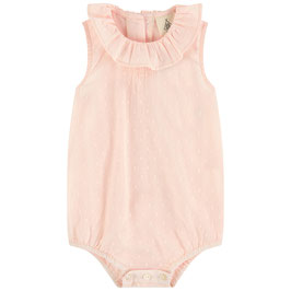 Pink dotted swiss Romper