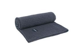 Dark blue knitted blanket