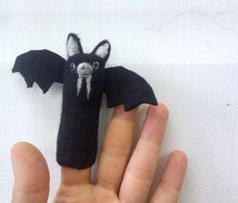 Fingerpuppe schwarze Fledermaus