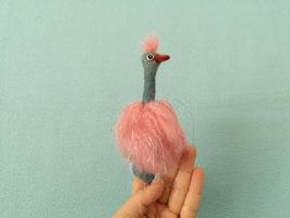Fingerpuppe Vogel Strauß rosa