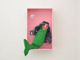 Fingerpuppe grüne Meerjungfrau in der Box