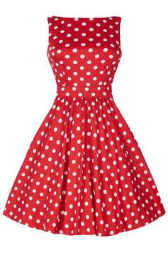 Lady Vintage Kleid Tea Red Polka