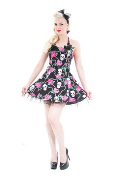 Hearts & Roses Kleid Pychobilly Mini