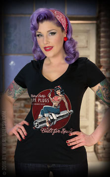 Rumble59 Shirt Betty's Spark Plugs V-neck