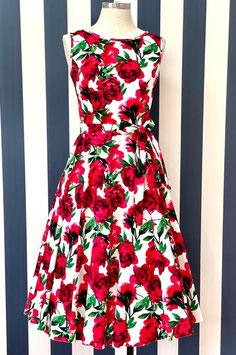 Lady Vintage Kleid Hepburn Red Flowers
