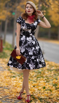 Dolly and Dotty Kleid Claudia Floral schwarz-weiss