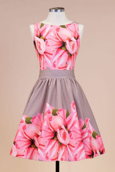 Lady Vintage Kleid Tea Rose Bud Border