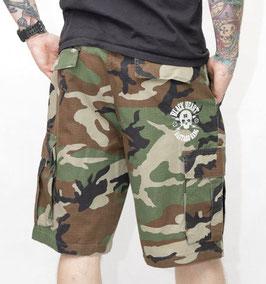 Black Heart Shorts Camouflage Skull