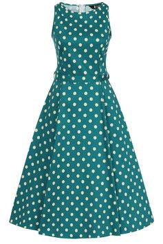 Lady Vintage Kleid Hepburn Jade Polka Dots