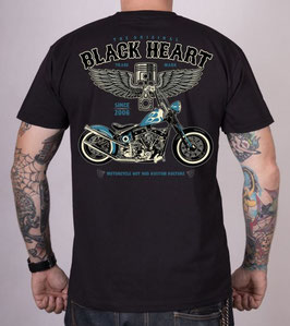 Black Heart T-Shirt Blue Chopper