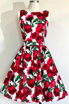 Lady Vintage Kleid Tea Red Flowers